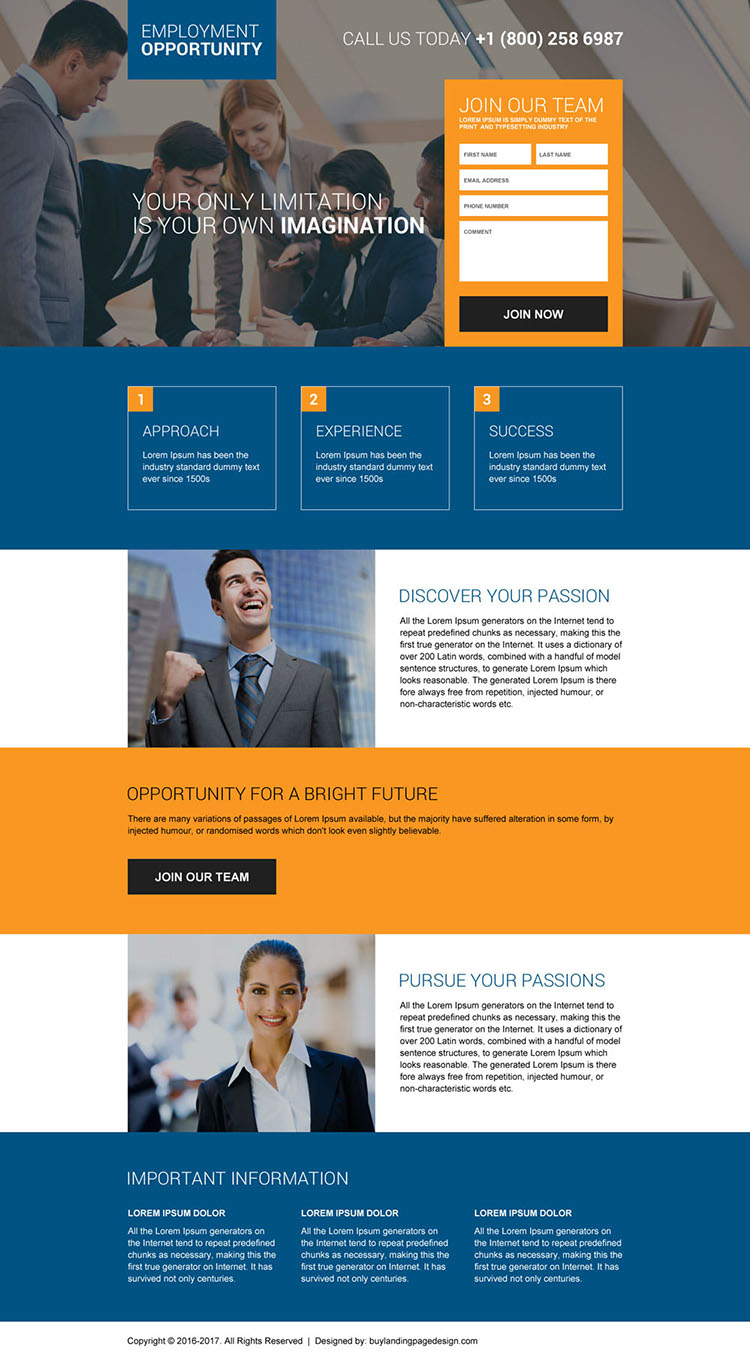 online employment opportunities landing page design