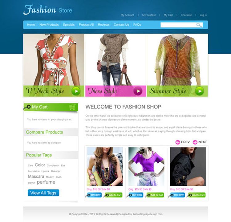 online fashion store website template design psd to create your online store