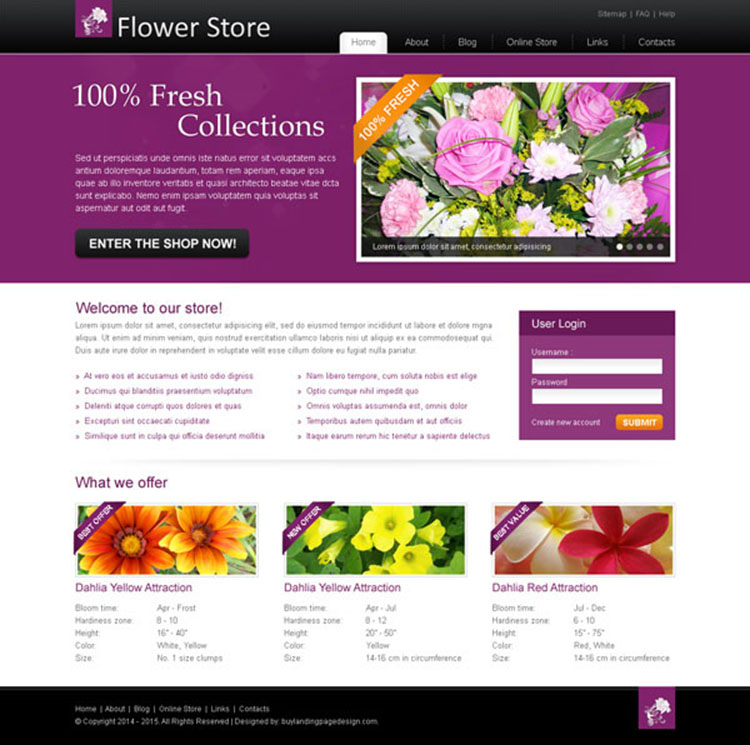 online flower store attractive and creative website template design psd for your online store