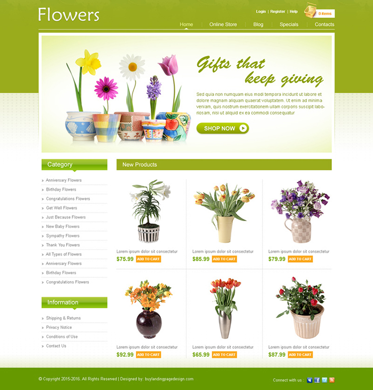 online flower store website design psd for sale