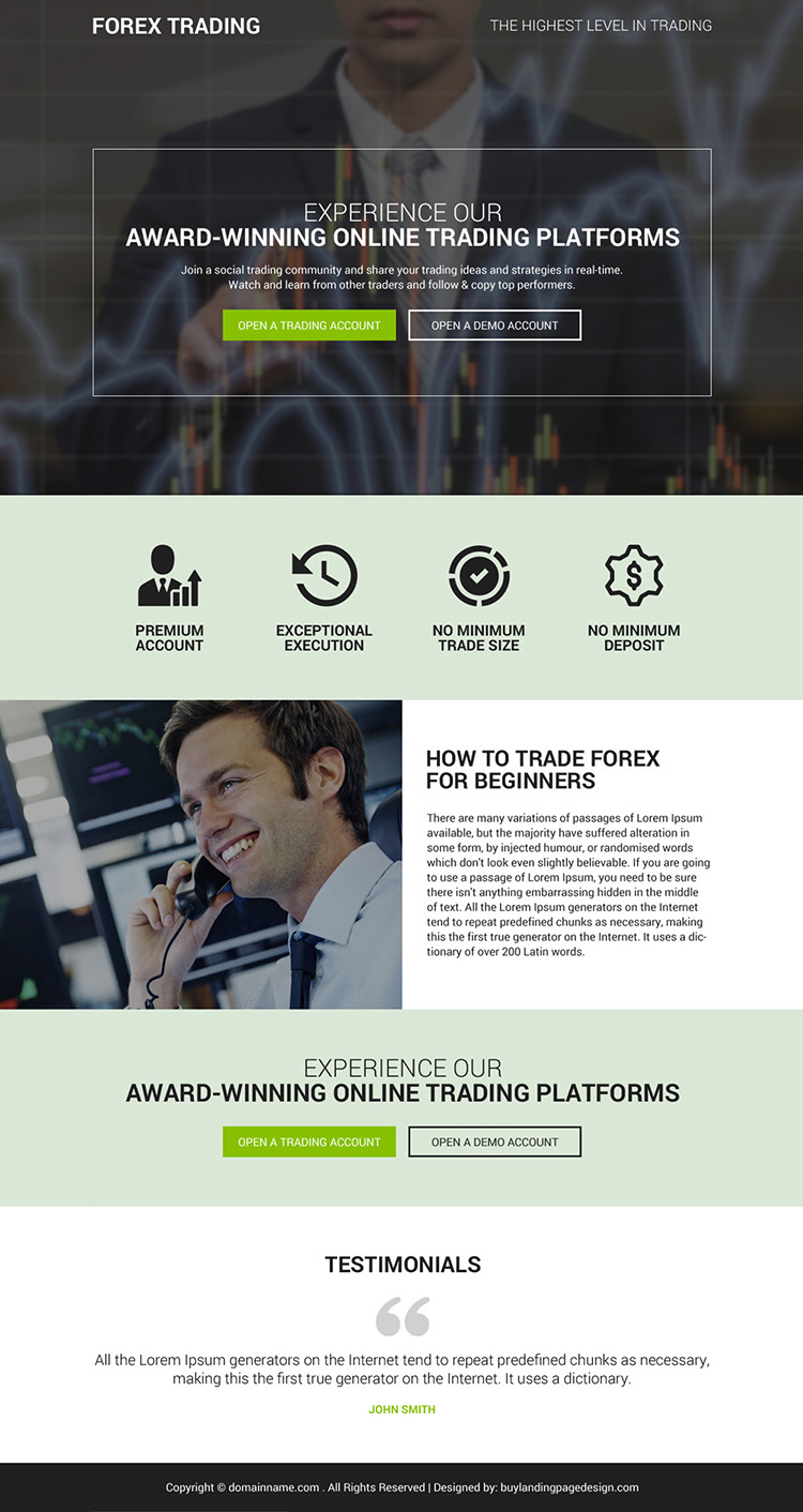 responsive online forex trading account sign up capturing landing page