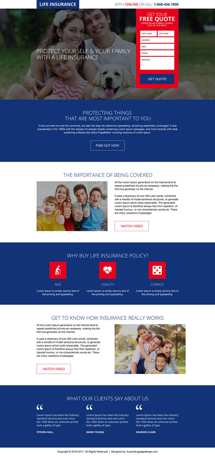 free quote lead capturing landing page design for life insurance