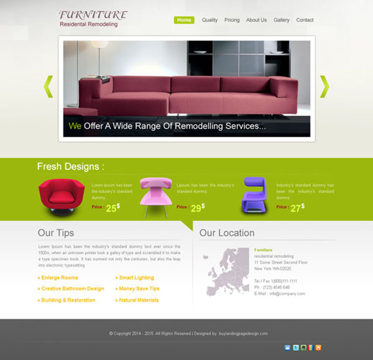 Previous Next clean and creative website template design psd for online  furniture store. online furniture store website psd 005   Website Template PSD sale