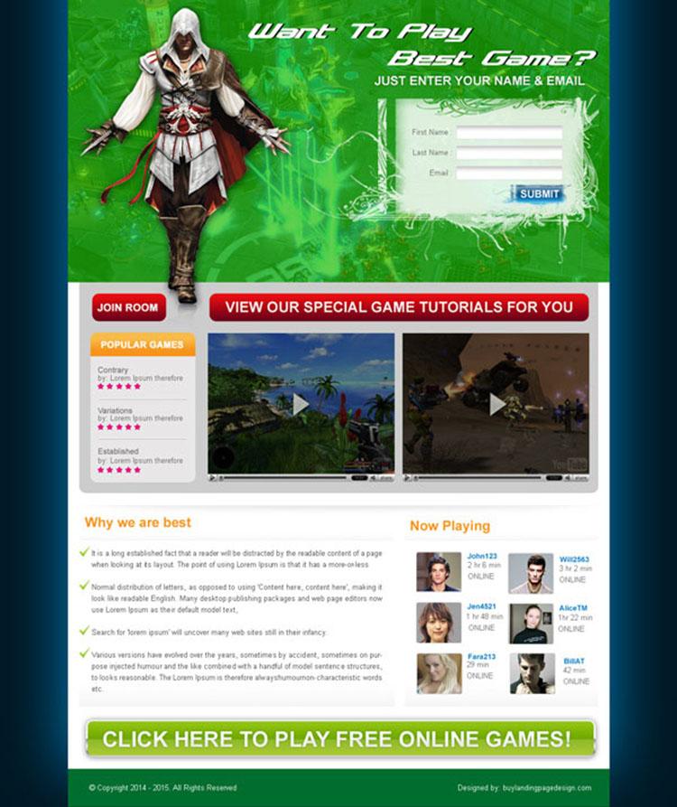 online game lead capture lp for sale 56 landing page design sale preview. Black Bedroom Furniture Sets. Home Design Ideas