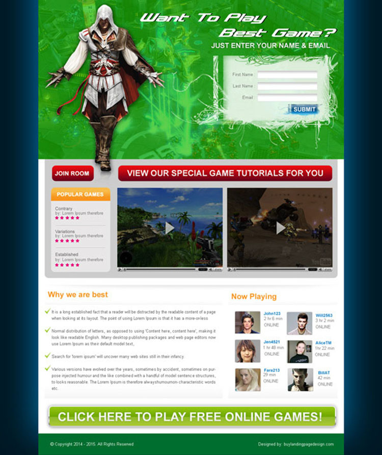 online game lead capture landing page design for sale