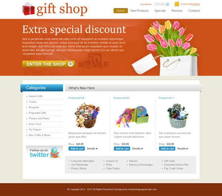 online gift shop creative and effective website template design psd
