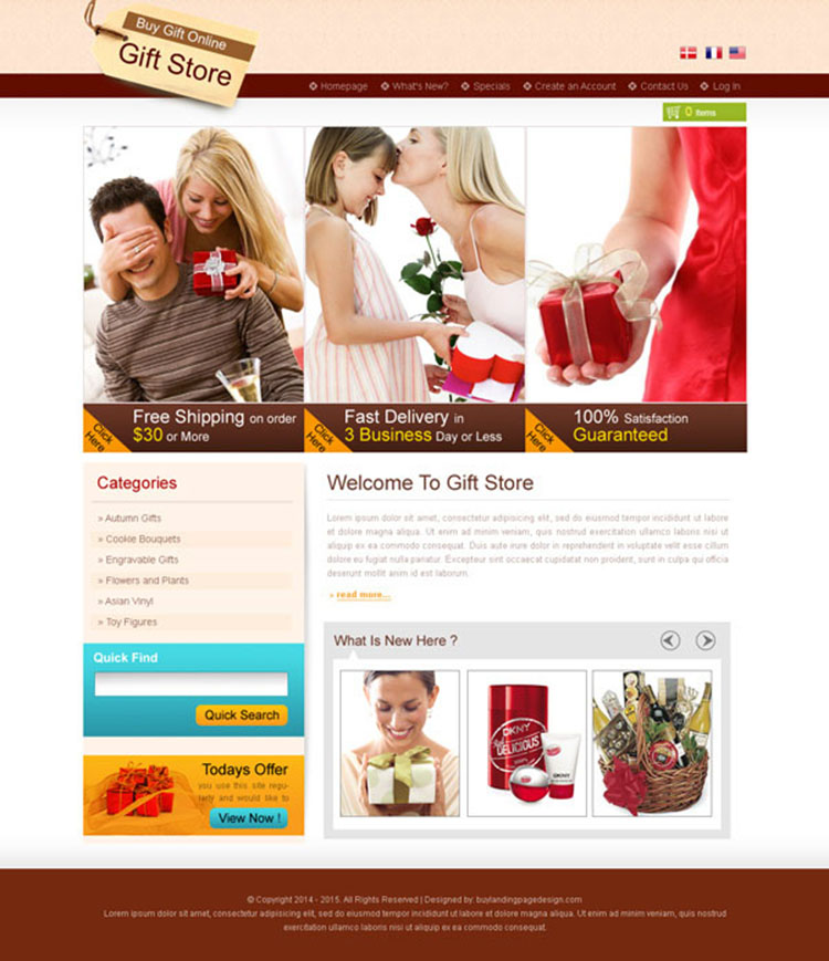 online gift store creative and converting website template design psd