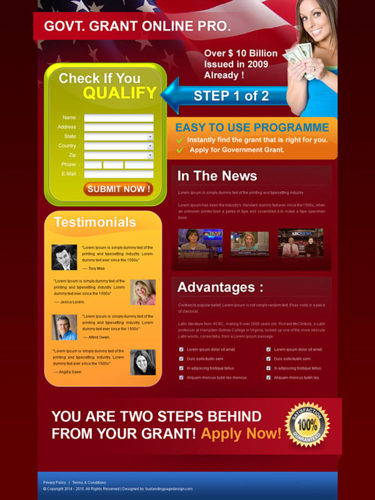 government grants appealing and attractive government grants landing page design for sale