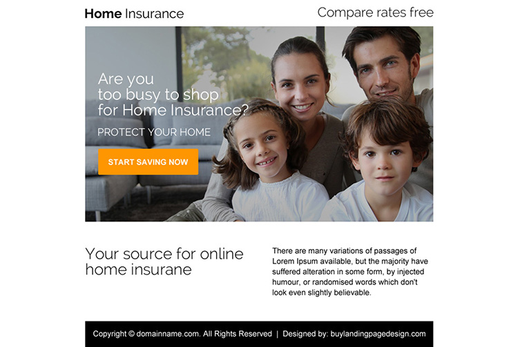 minimal home insurance ppv landing page design