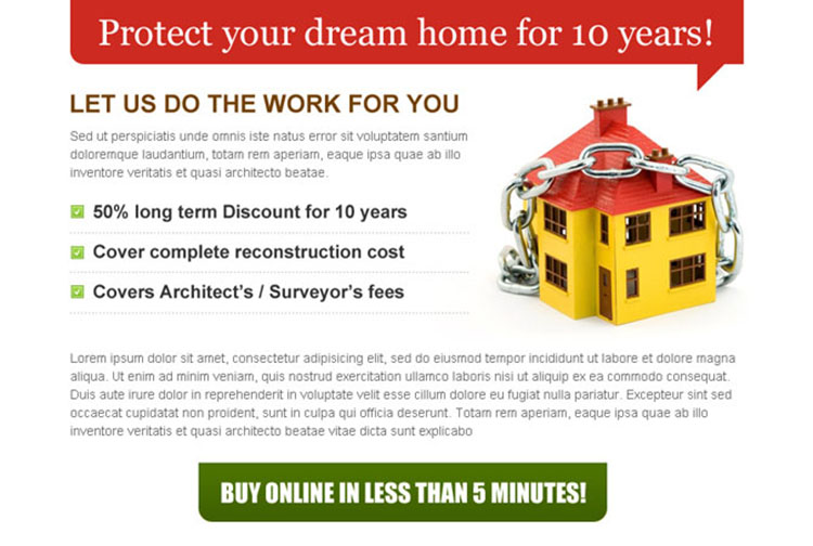 protect your dream home with clean and effective home insurance ppv landing page design