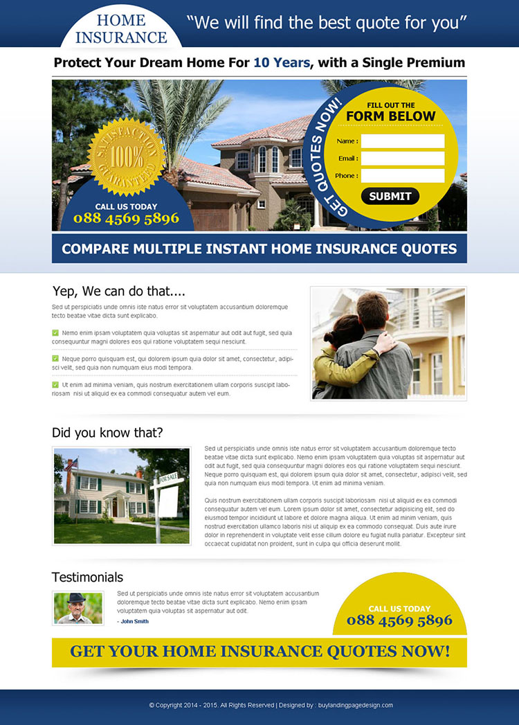 instant home insurance quote lead capture squeeze page design