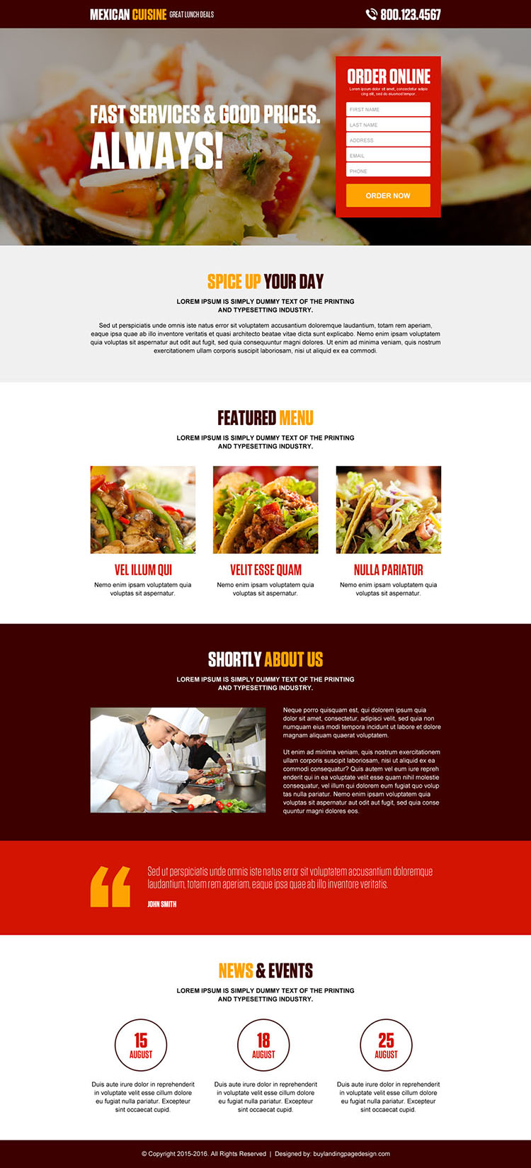 appealing online hotel and restaurant lead generating landing page design
