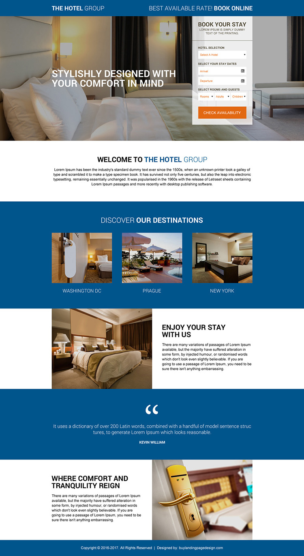 online hotel booking premium landing page design