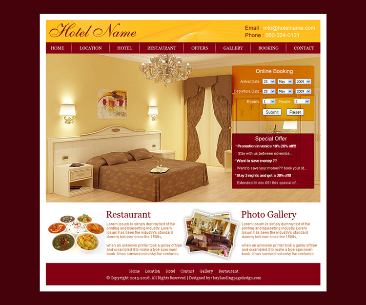 online hotel booking website template design psd for sale