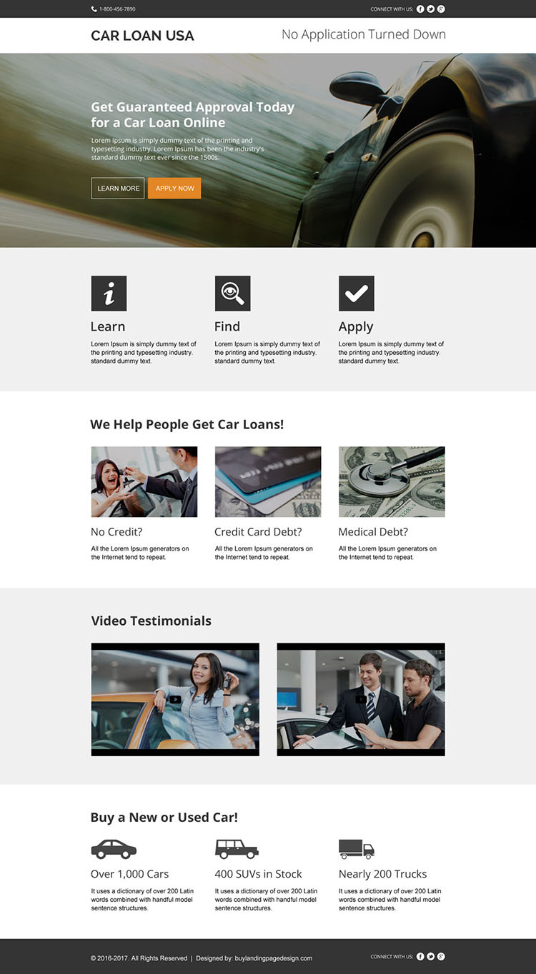 instant car loan approval modern landing page design