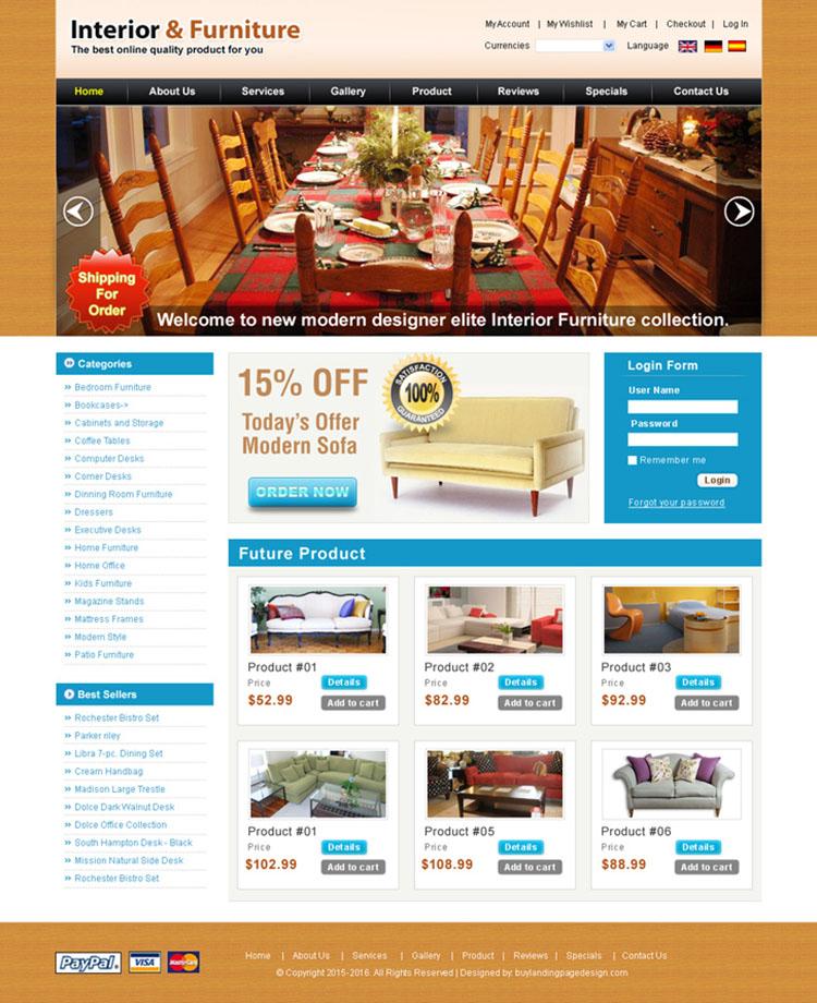 online interior furniture shop website template for sale