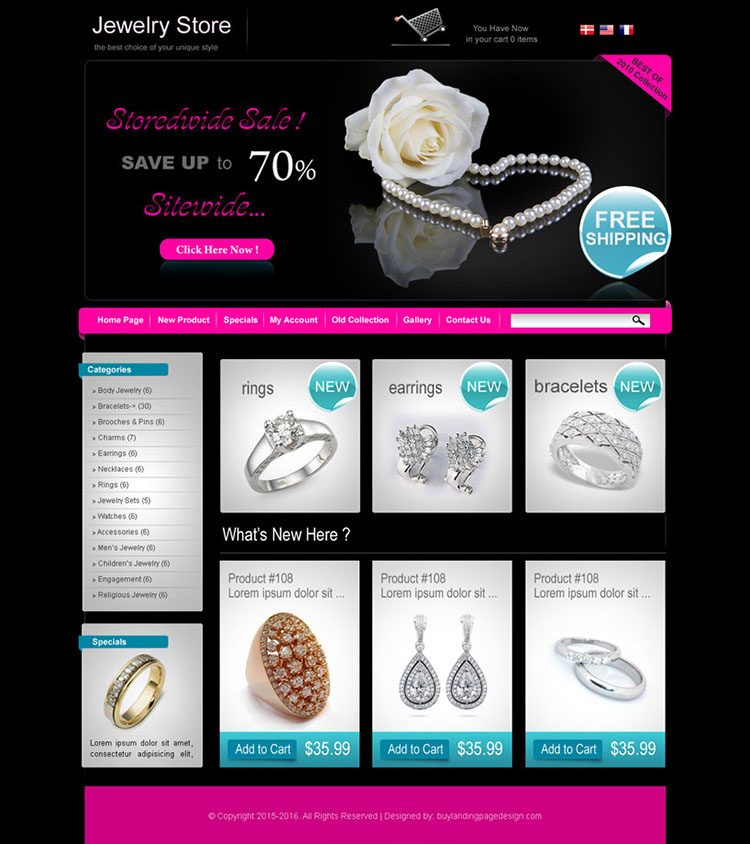 online jewelry store website design template for sale