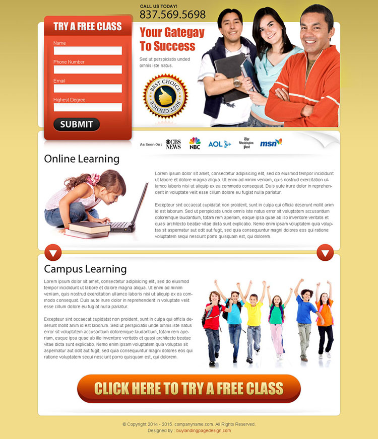 online learning effective lead capture squeeze page design