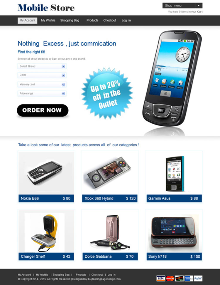 online mobile store website template design psd for your online mobile store