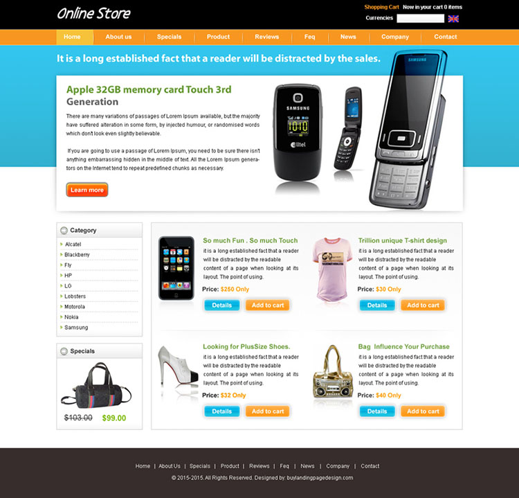 Online mobile store website design psd 8 preview for Mobili store online