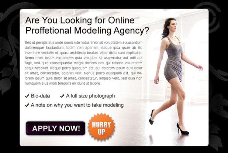 online professional modeling agency clean and most converting call to action ppv landing page design