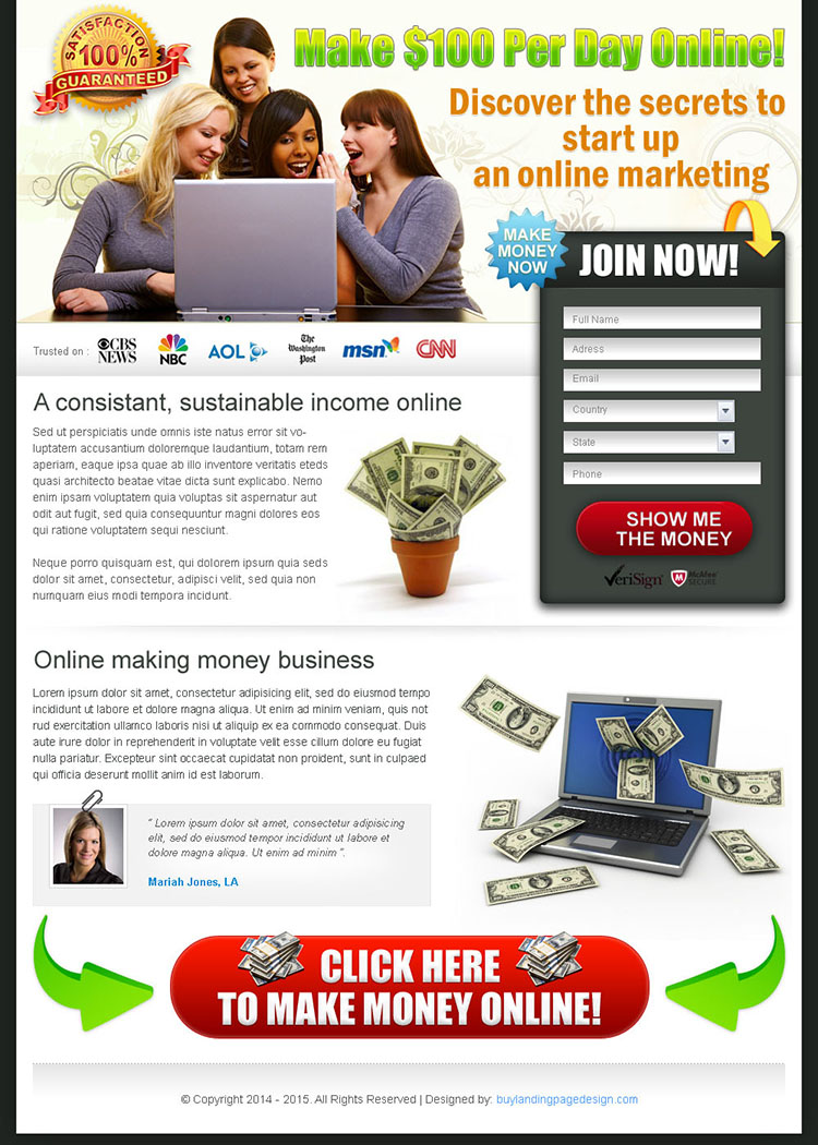 discover the secrets to online marketing landing page design for sale