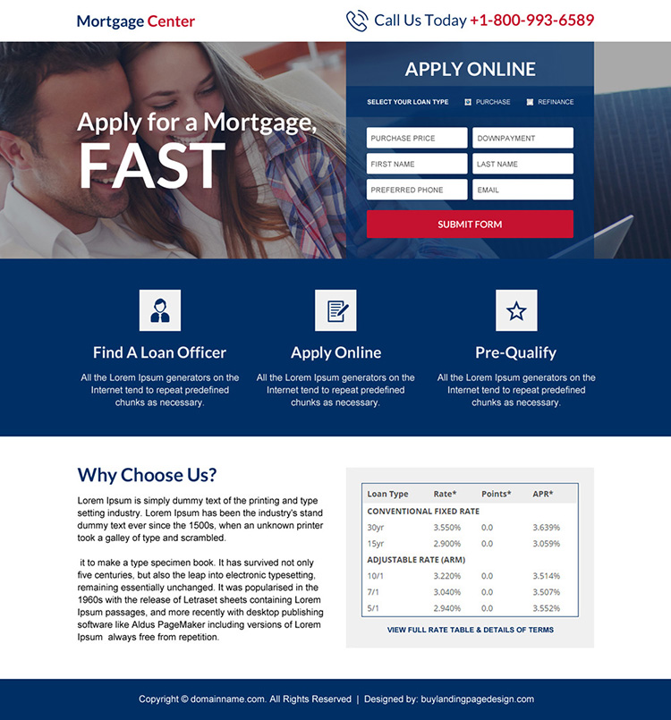 mortgage center responsive landing page design