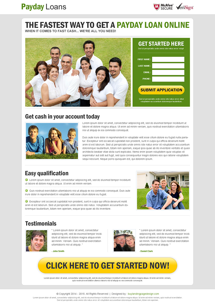 fastest way to get a payday cash loan online responsive landing page design