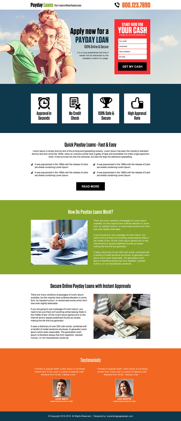 online payday cash loan lead capturing landing page design template
