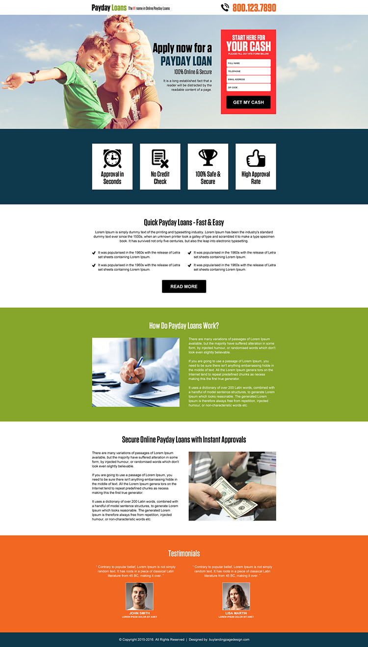 online payday cash loan responsive landing page design