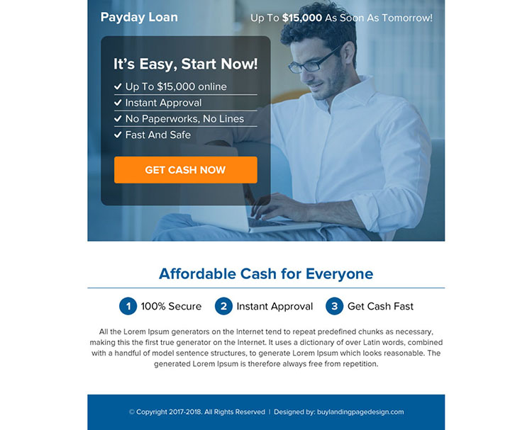 online payday cash loan call to action ppv landing page