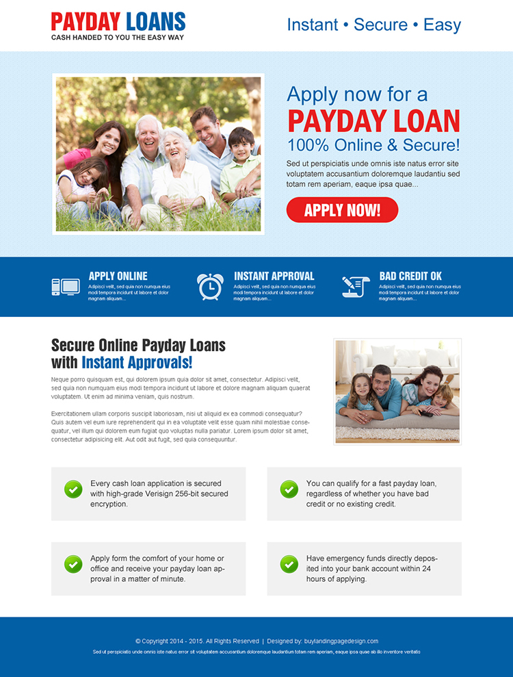 online and secure call to action creative payday loan landing page design template