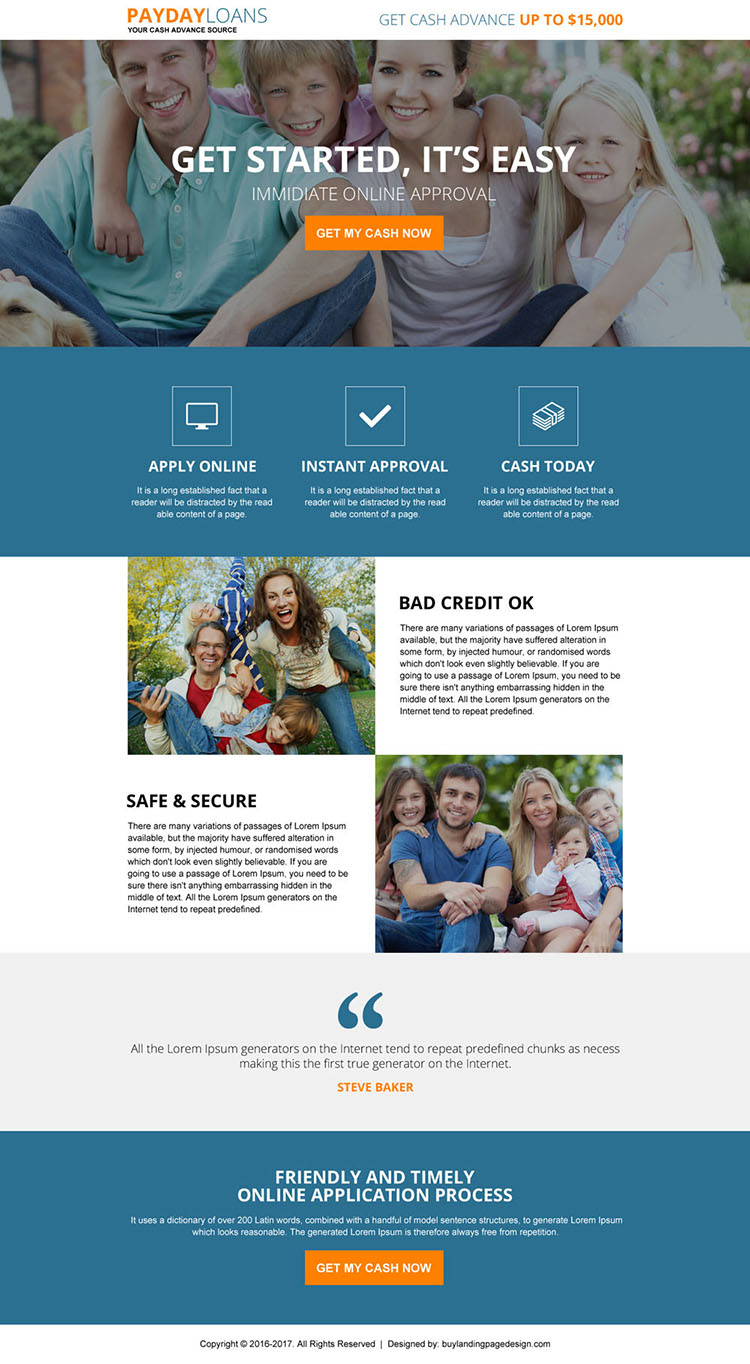 responsive online payday loan instant approval landing page design