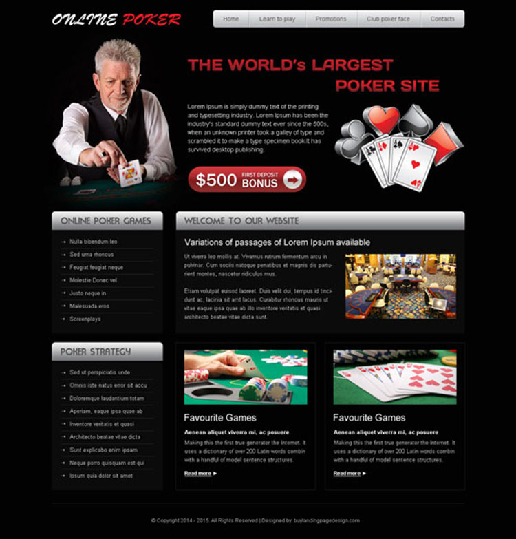 attractive online poker website template design psd to create your converting website