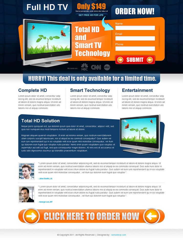 full hd tv impressive and effective landing page design