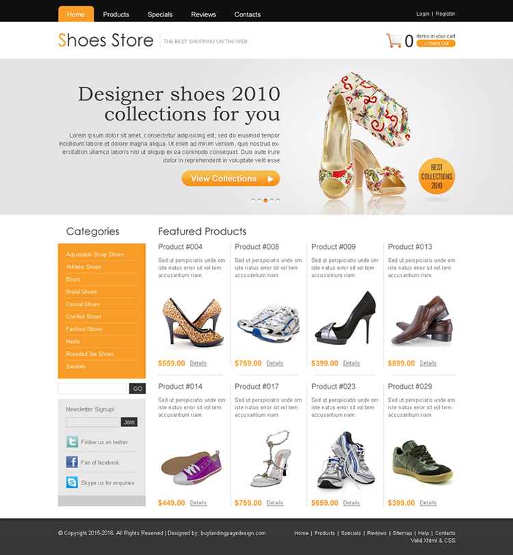 clean online store shoes website template design psd