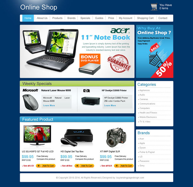 online shop website template design psd for sale