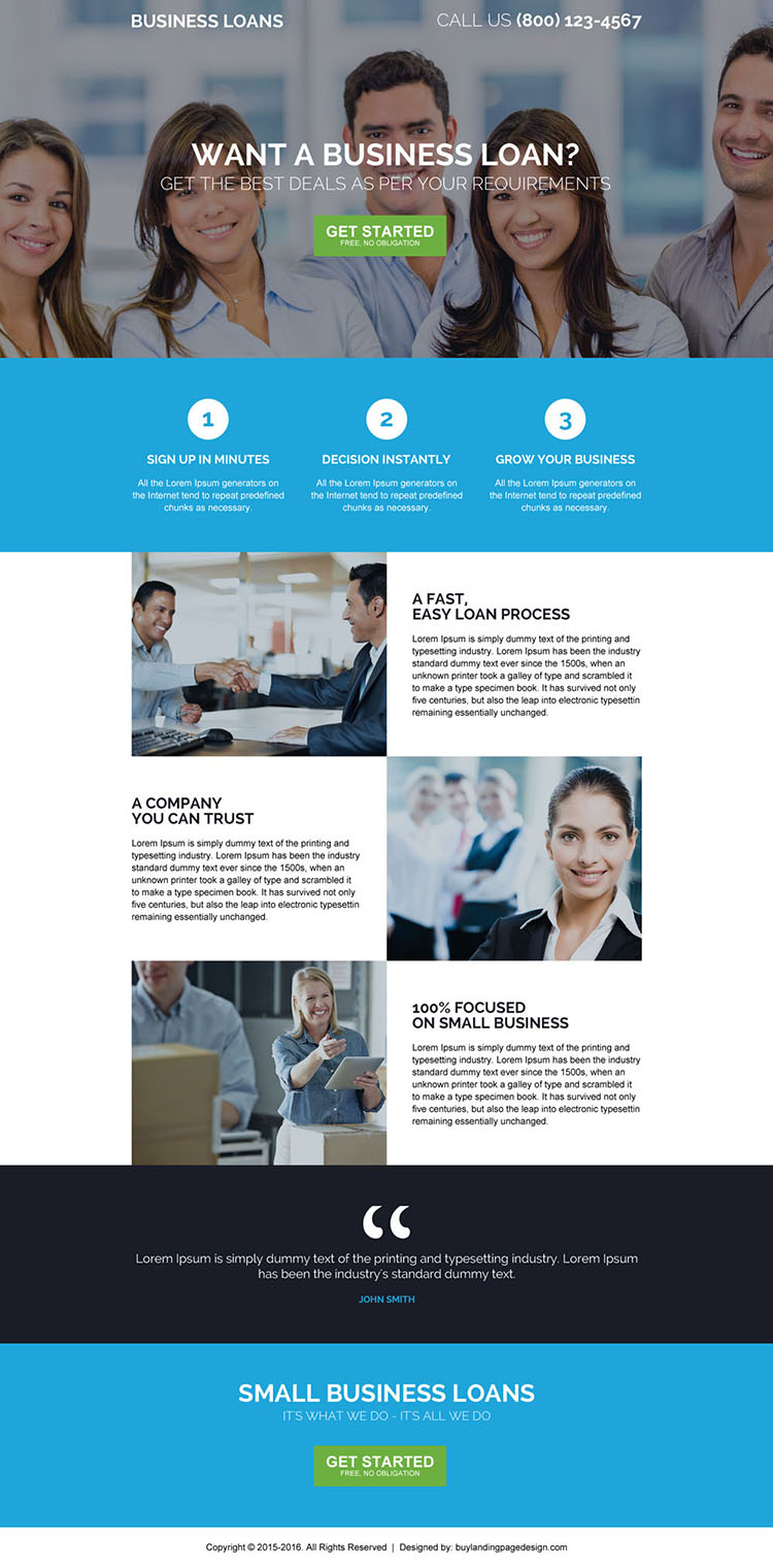 responsive online business startup loan landing page design