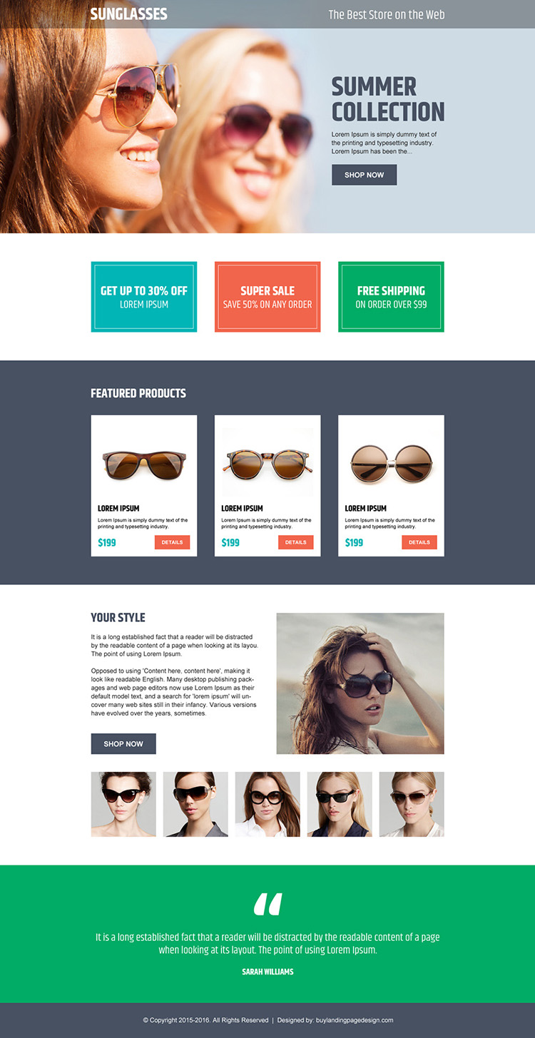 online store converting ecommerce landing page design for sunglasses