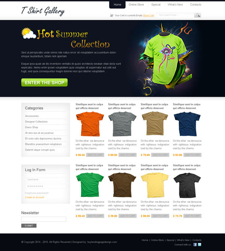 online t shirt store template psd 004 website template