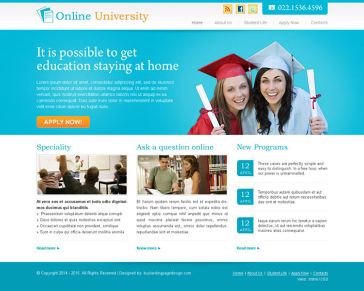 online university call to action website template design psd