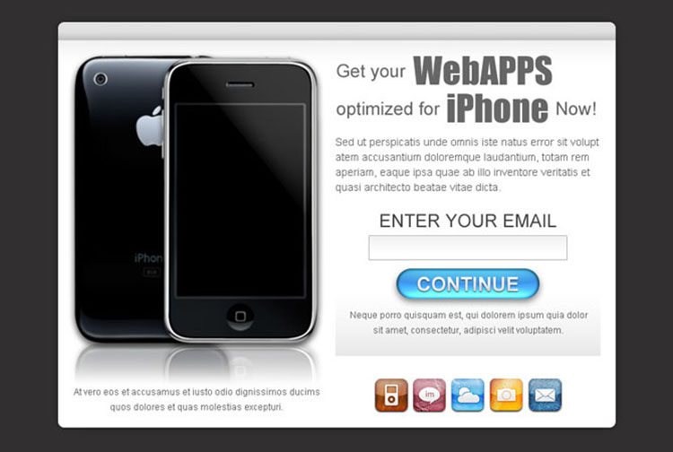 online web apps optimized for iphone lead capture ppv landing page design template
