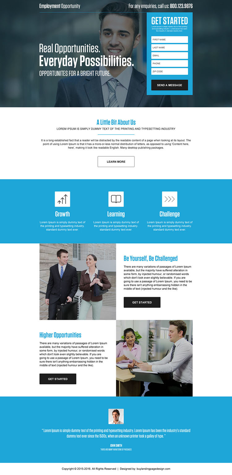 professional employment opportunity responsive landing page