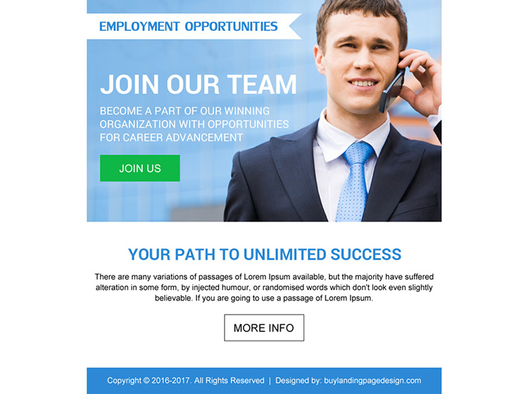 employment opportunity simple ppv landing page design