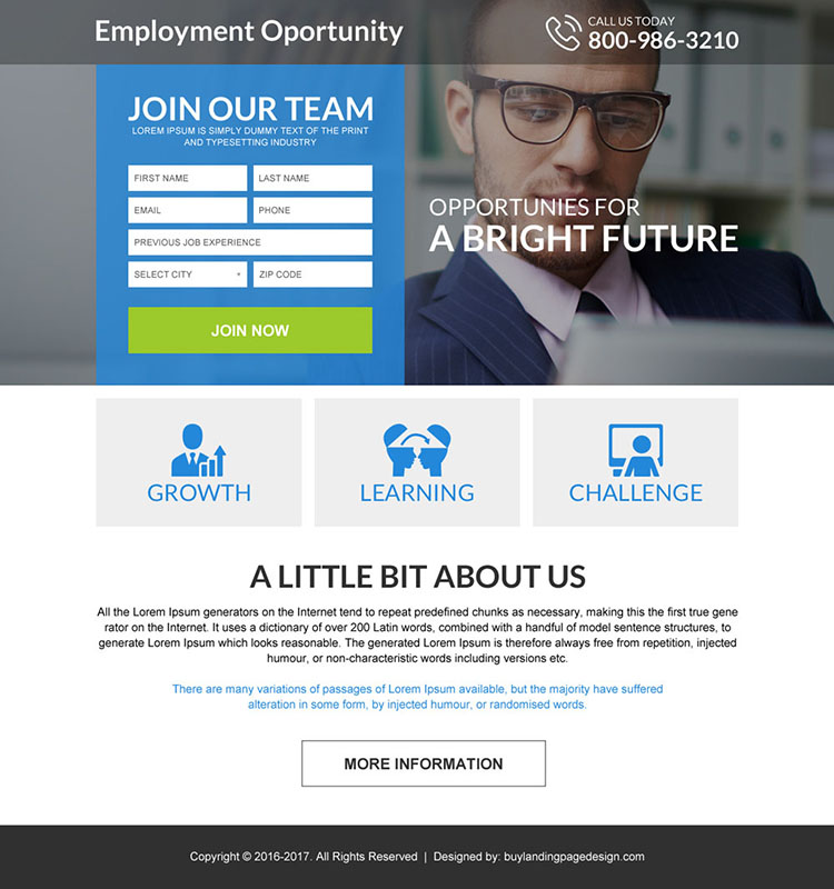 responsive employment opportunities mini landing page