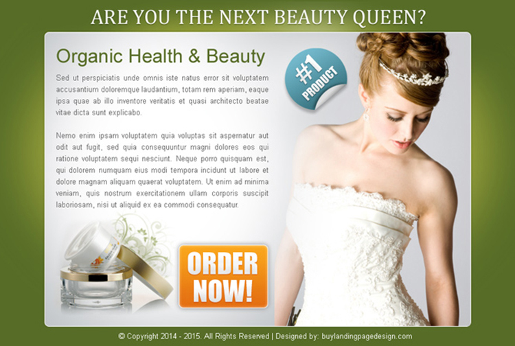 organic health and beauty product order now ppv landing page design template