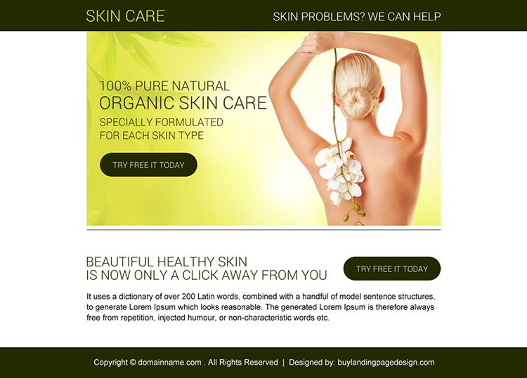 organic skin care free trial PPV design