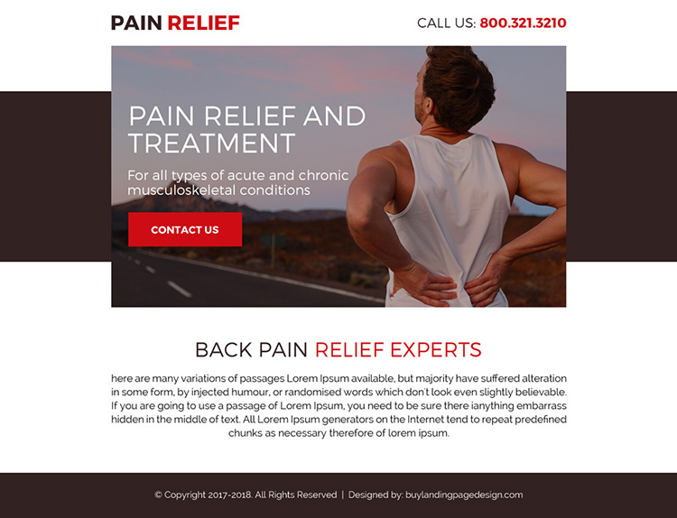 back pain relief treatment call to action ppv landing page