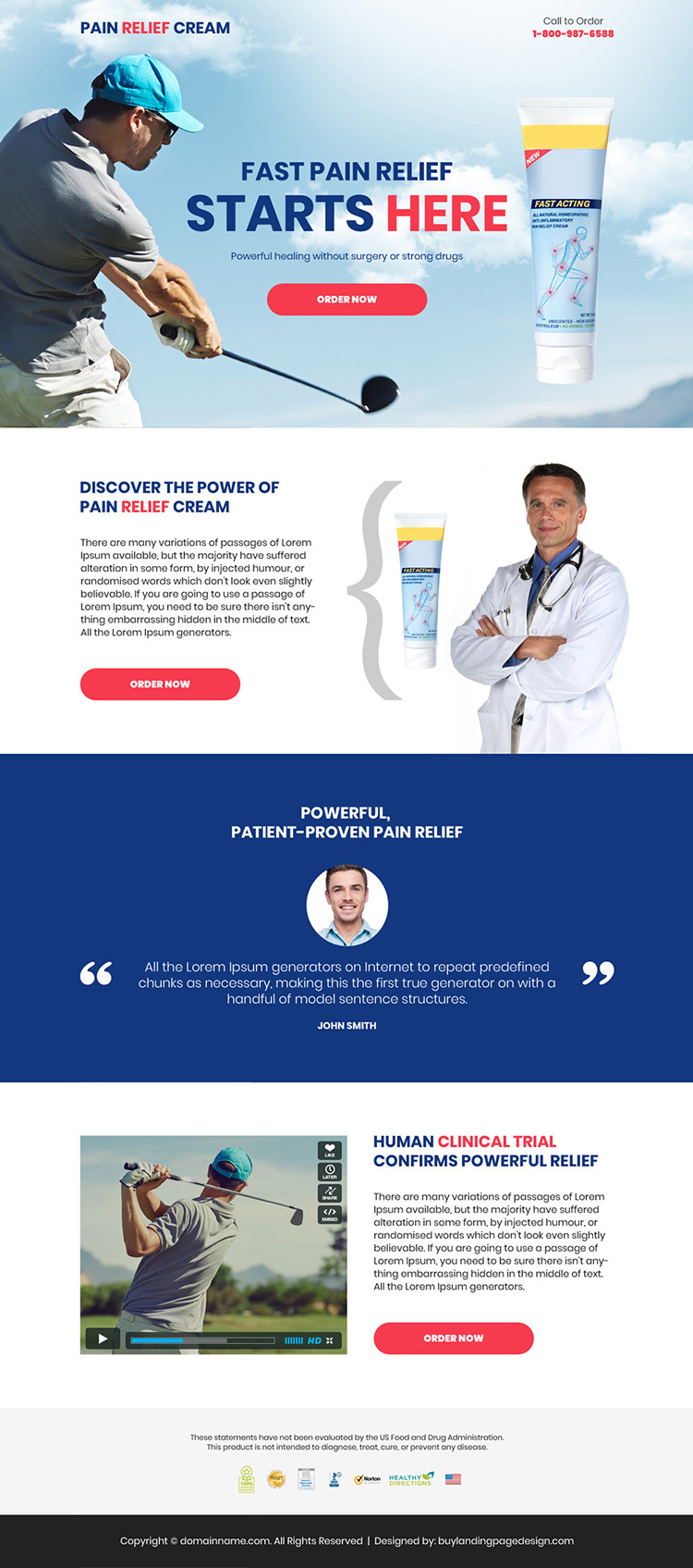 pain relief cream selling responsive landing page design