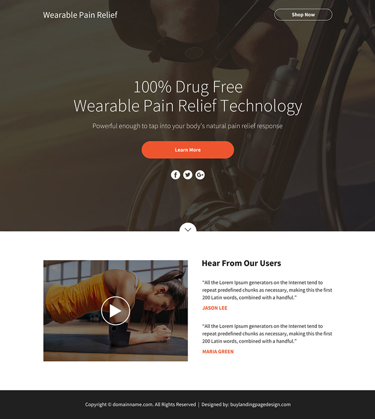 wearable pain relief technology sales funnel page design